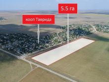 Продается участок 5.5 га рядом с кооп. Таврида